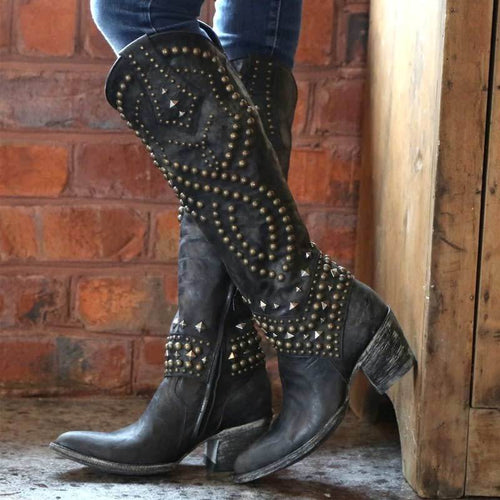 Distressed Leather Cowgirl Boots
