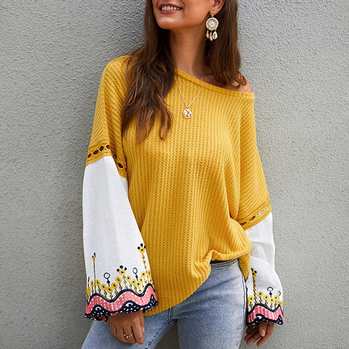 Snazzy Long Sleeve Crew Neck Patchwork Sweater Womenswear