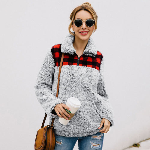 Trendy Pocket Zipper Plaid Paint Female Grace Sweater