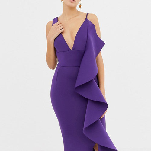 Open Back V-neck Sexy Ruffled High Waist Dress