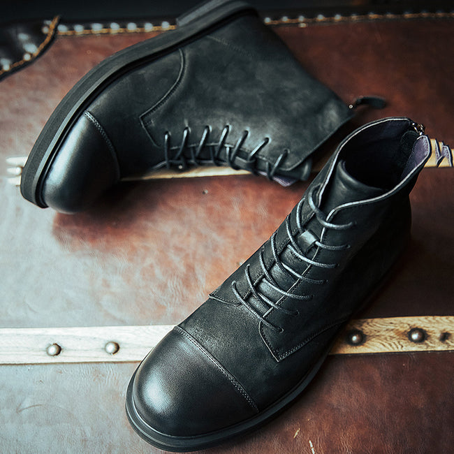 Trendy Leather Lace-up Men's Martin Boots