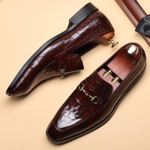 Crocodile Pattern Business Dress Shoes