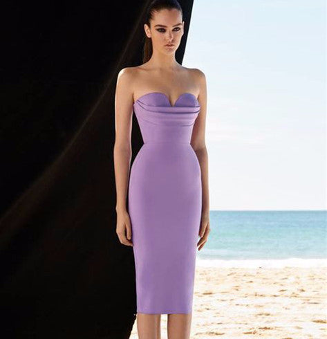 Women's Temperament Sexy Tube Top Slim Purple Dress