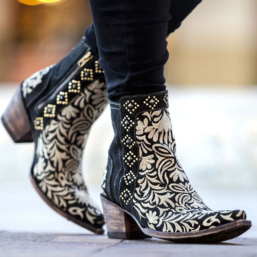 Fashion Embroidered Side Zipper Women's Ankle Boots