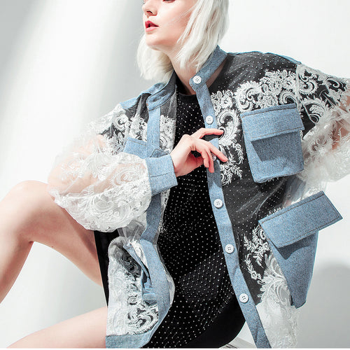 Lace-paneled Denim Loose Jacket
