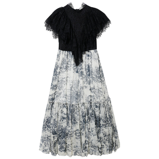 Vintage Lace Fake Two-piece Ink Dress