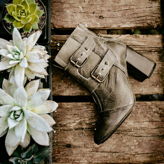 Buckle Pointed Thick Heel Leather Women's Boots