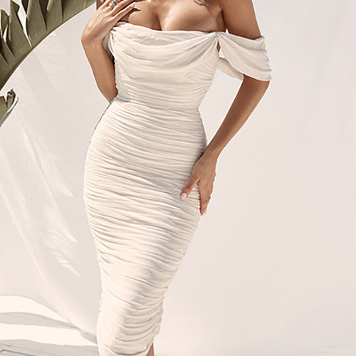 Sexy Solid Color Mesh Sleeve Tube Top Smocked Dress