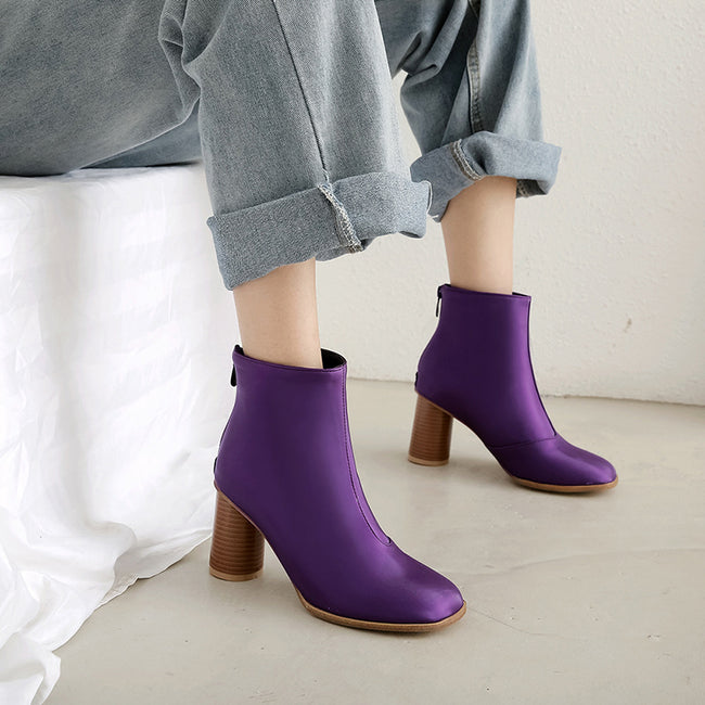 Women Stylish Round Toe Smooth Ankle Boots