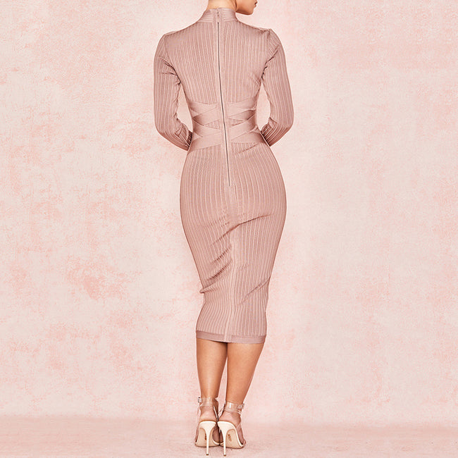 Fashion High Neck Long Sleeve Bandage Dress