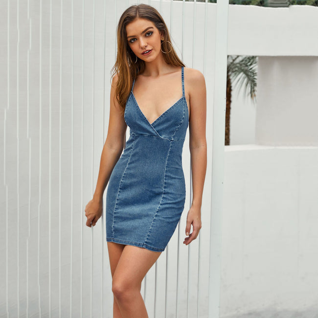 Women's Sexy Sling Backless Slim Denim Skirt