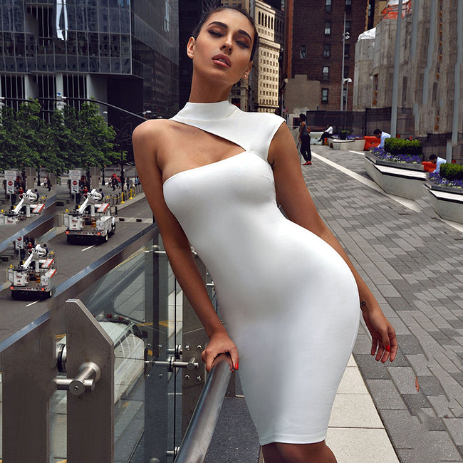 Sexy One Shoulder Sleeveless Bandage Dress