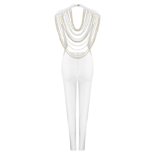 Beaded Chain Design Sexy Sleeveless Open Back Jumpsuit