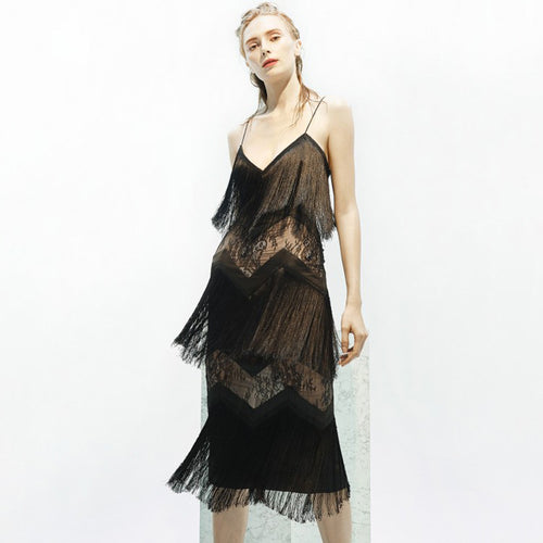 Tassel Design Sexy V-neck Backless Lace Dress