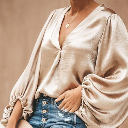 Fashion Casual V-neck Long-sleeved Blouse