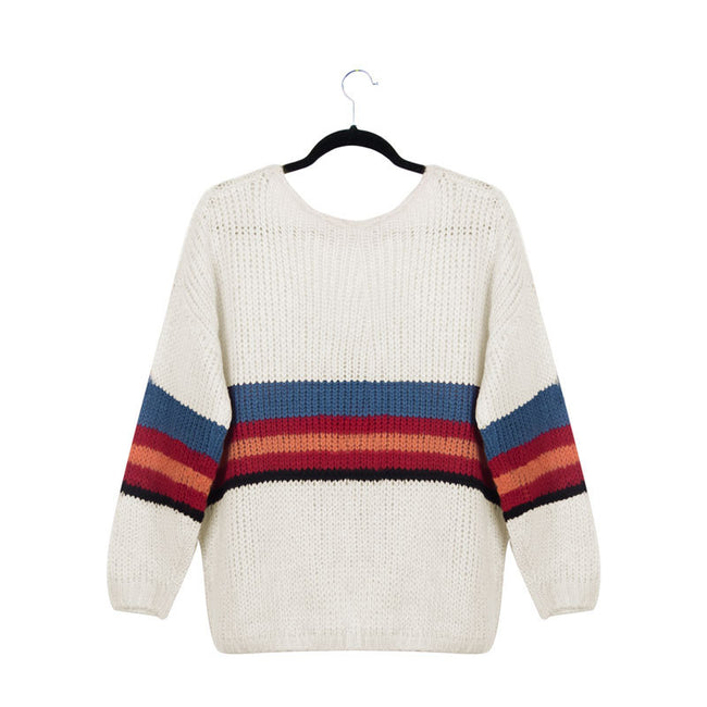 Casual Solid Color Panel Knit Long Sleeve Sweater