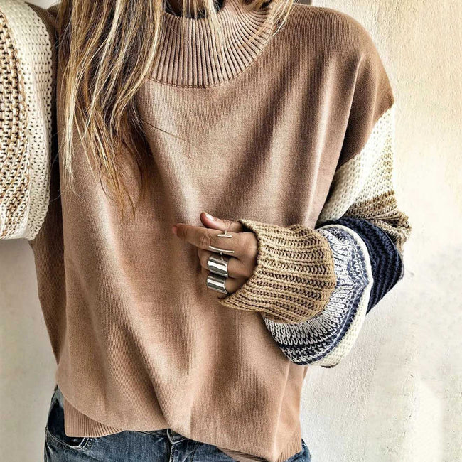 Solid Color Round Neck Loose Knitted Long Sleeve Sweater