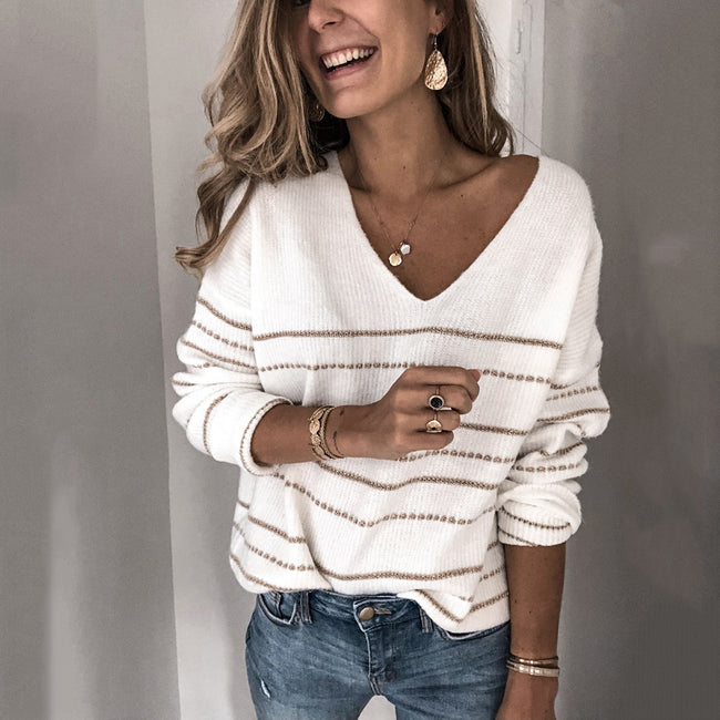 Casual Solid Color Striped V-neck Sweater