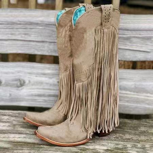 Retro Handmade Thick High Heel Middle Fringe Boots