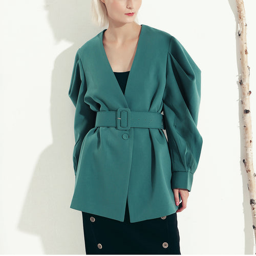 Retro Solid Color V-Neck Bat Sleeve Jacket