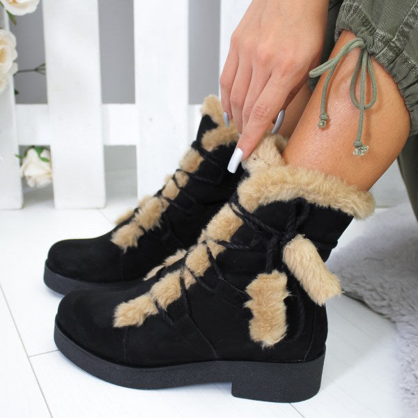 Fashion Warm Lace-Up Toe Suede Ankle Boots