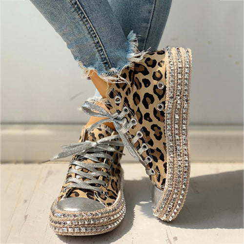 Platform Hemp Rope Rhinestone Lace-Up Canvas Booties