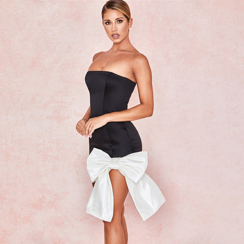 Wrap Off Shoulder Sexy Slim Bow Dress
