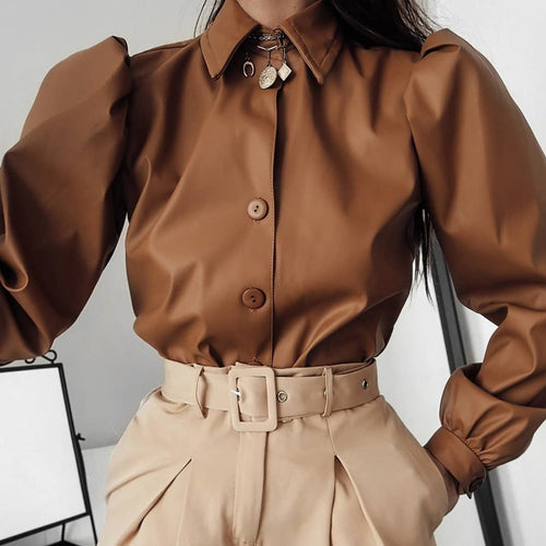 Sexy Matte Leather Puff Sleeve Women's Shirt
