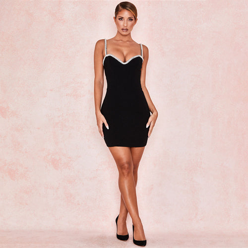 Solid Color Stitching V-neck Wrap Chest Dress