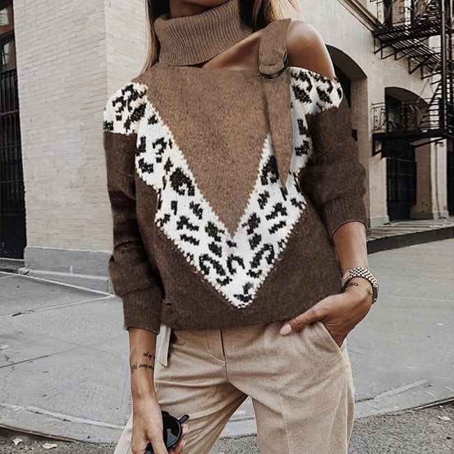 Strapless Leopard Stitching Sweater