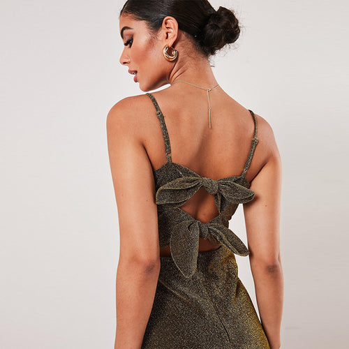 Sexy Hollow Backless Short Silk Dress