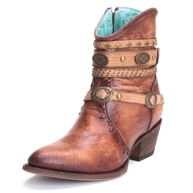 Women Vintage Buckle Mid-Calf Matin Boots