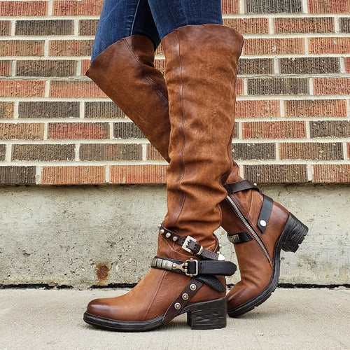 Winter Buckle Suede Low Heel Daily Boots