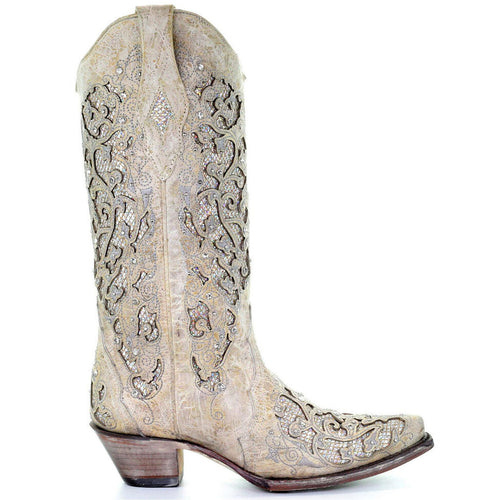 Women's Hollow Carved Glitter Inlay Crystals Boots