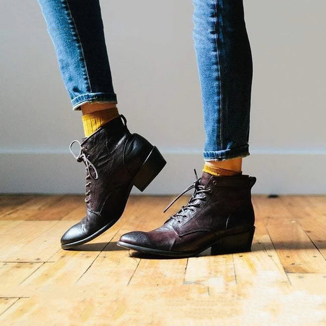 Vintage Low Heel Lace-Up Leather Boots