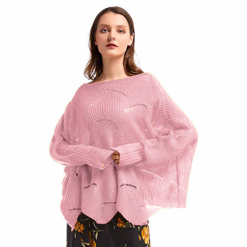 Lantern Bat Sleeve Cutout Knitted Jumper