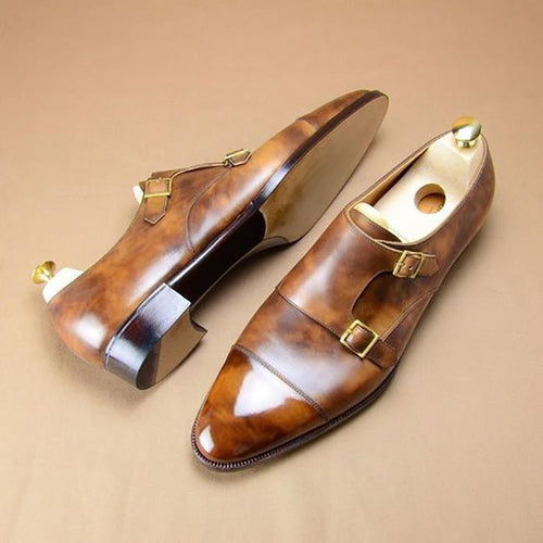 Stitching Leather Monk Men's Shoes