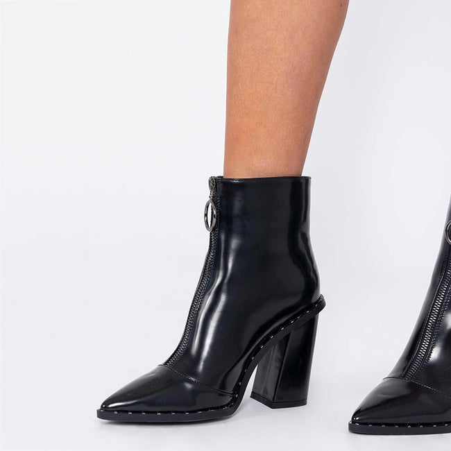 Thick High Heel Pointed Toe Front Zipper Boots