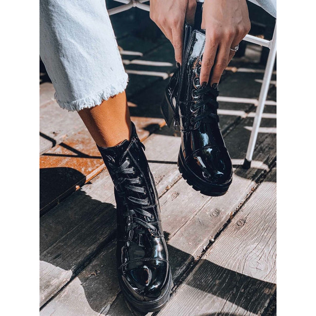 Fashion Bright Leather Lace-up Women's Boots