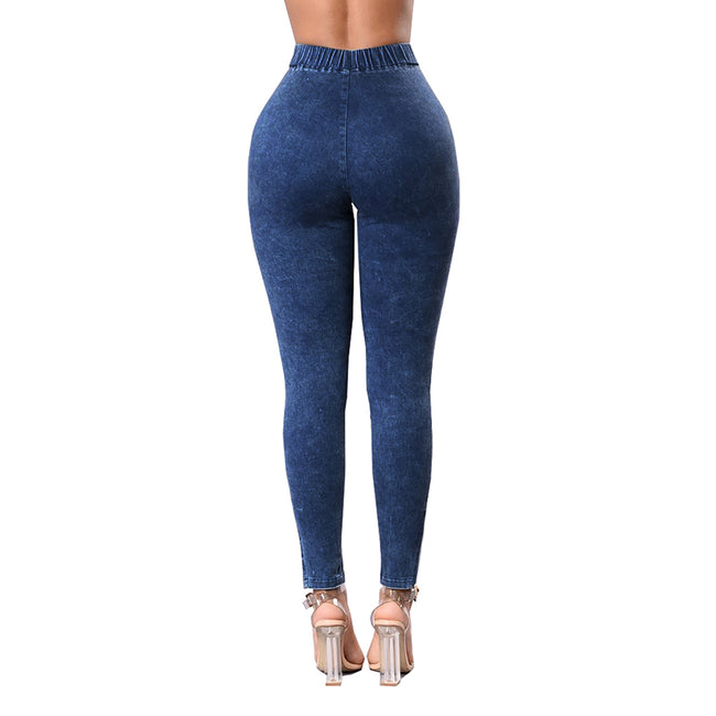 Skinny Dark Blue  Control Denim Long Length Pants