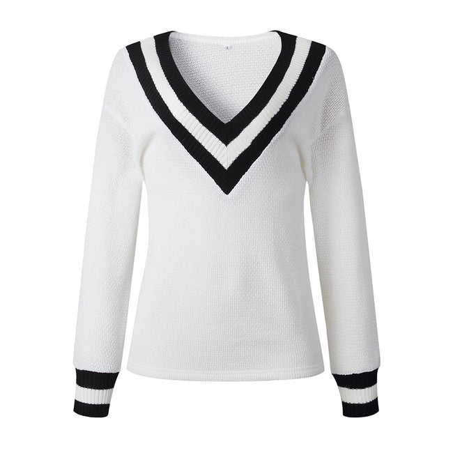 Women Winter Autumn Casual  Stripe Patchwork V Neck Long Sleeve Pullovers