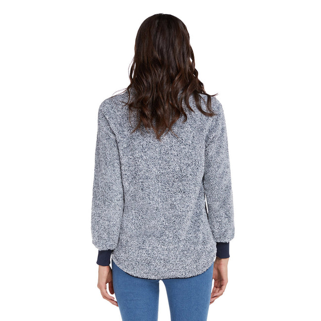 Particularly Light Blue Long Sleeves Plush Sweater Patchwork For Beauty