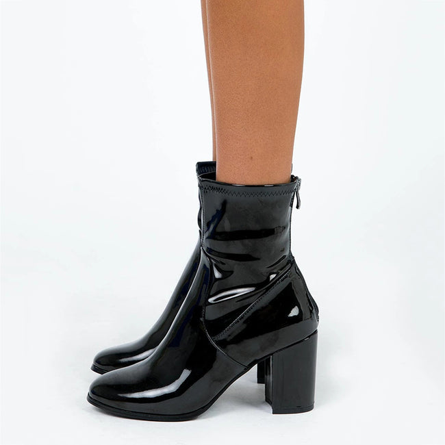 Fashion Thick High-Heeled Patent Leather Booties
