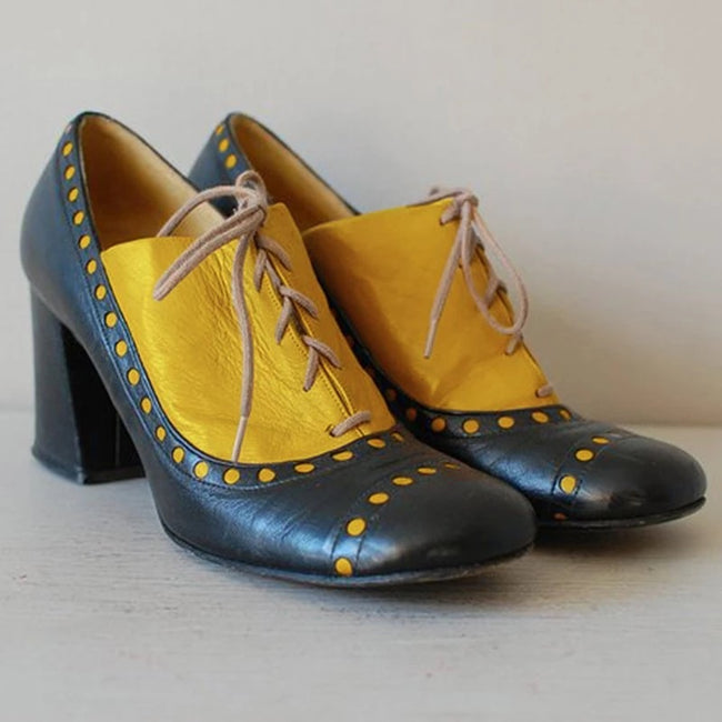 Women Oxfords Vintage Chunky Heel Lace-Up Shoes