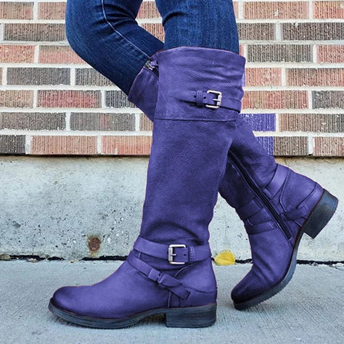 Women Zipper Low Heel Buckle Knee High Boots