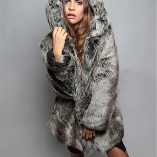 Warm Casual Hooded Faux Fur Coat