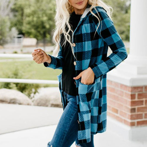 Female Grace Long Sleeve Hoodie Plaid Open Front Coat