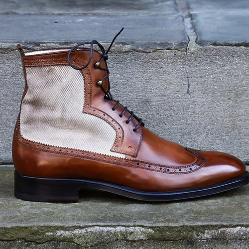 Canvas Panel Leather Men's Boots