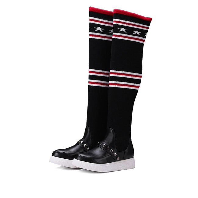 Women Fashion Round Toe Rivets Sock Boots