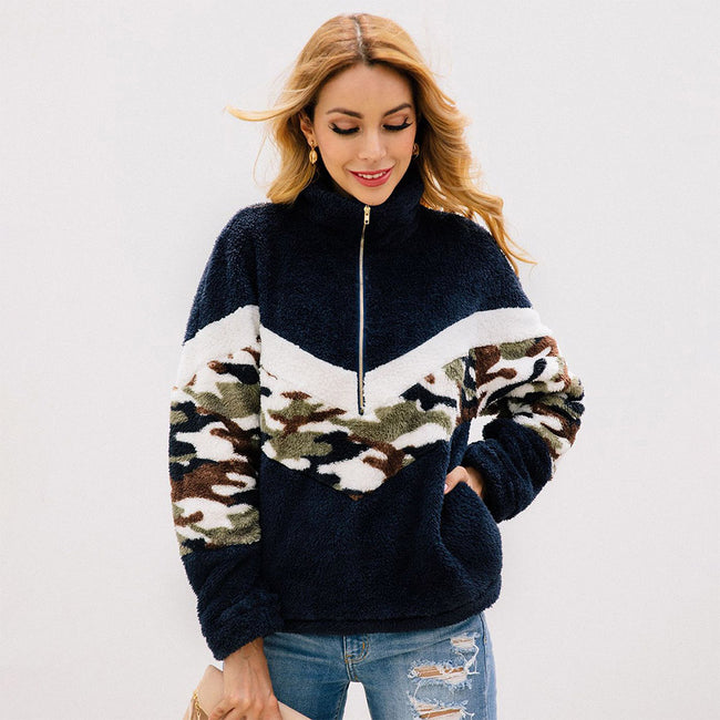 Sweater Camouflage Print Zipper Pocket